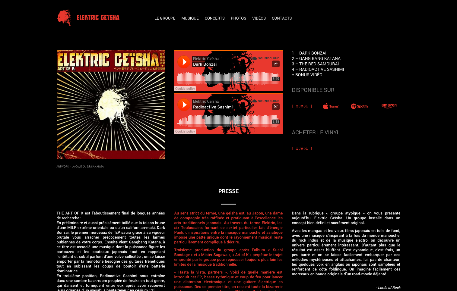Elektric Geïsha — Website Screen — Art Of K