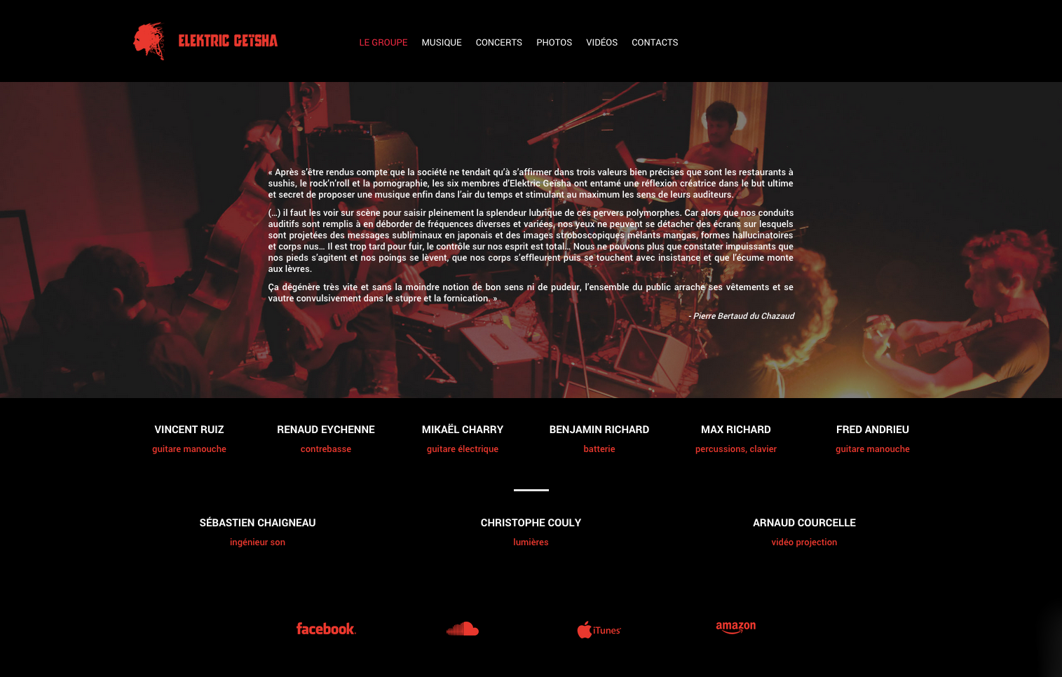 Elektric Geïsha — Website Screen — Band