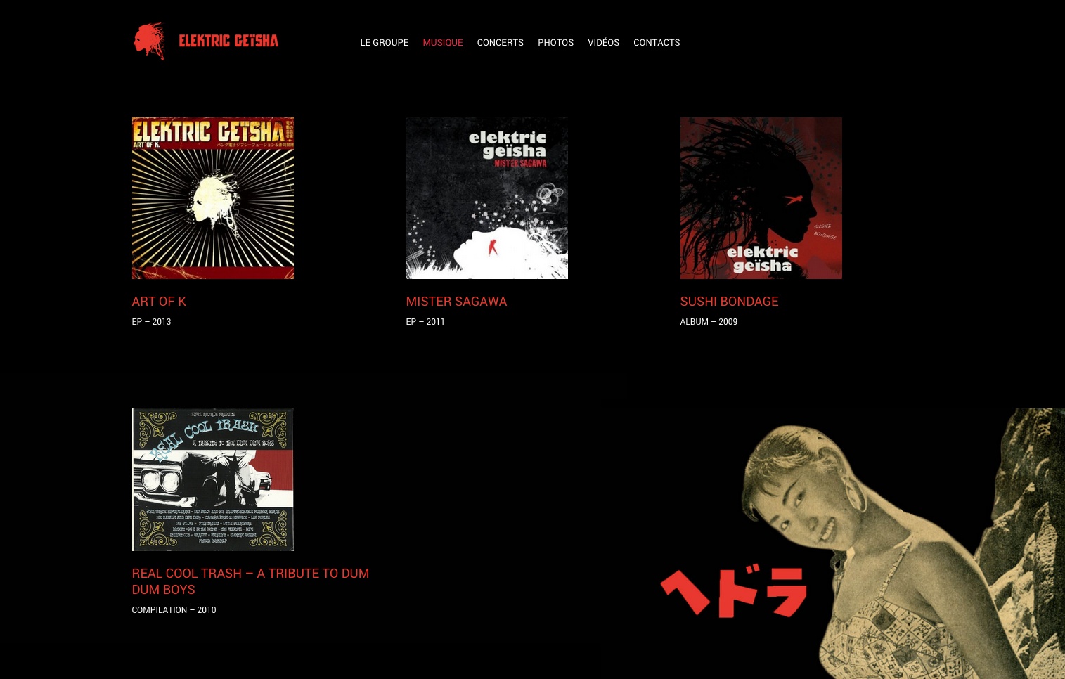 Elektric Geïsha — Website Screen — Music