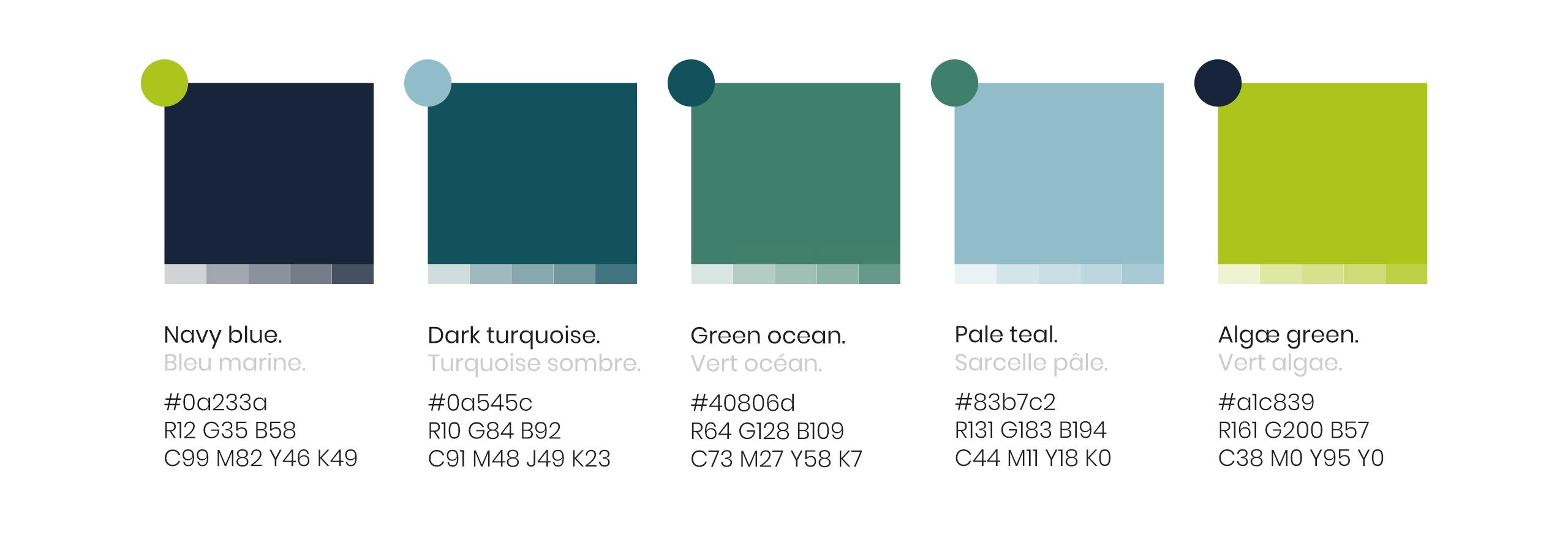 Kertalg - bioraffinerie environnementale - Palette de couleurs avancée
