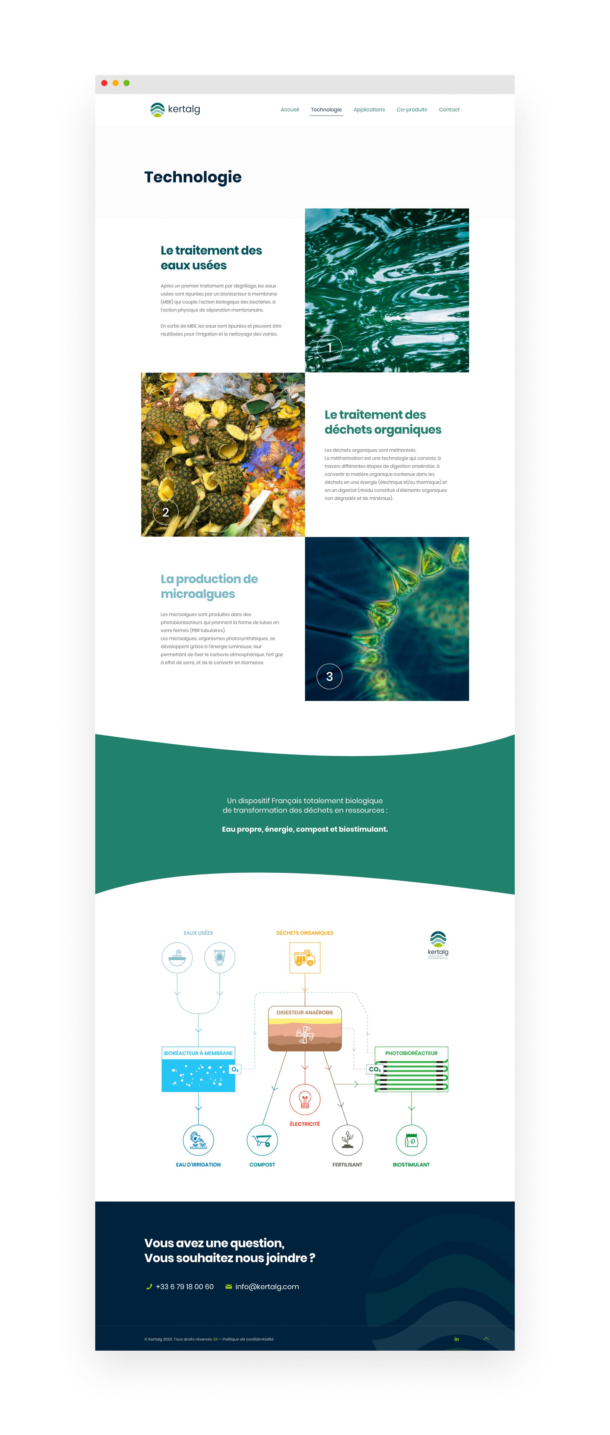 Kertalg - bioraffinerie environnementale - Site web, page Tehnologie